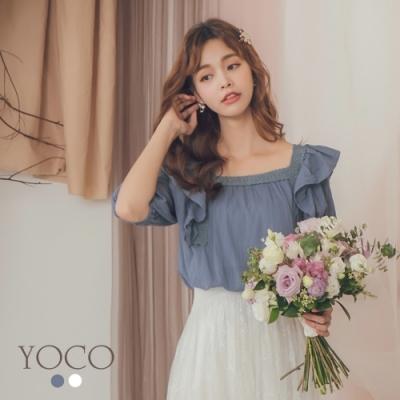 東京著衣-YOCO 宮廷淑女方領鉤織鏤花荷葉邊上衣(共二色)