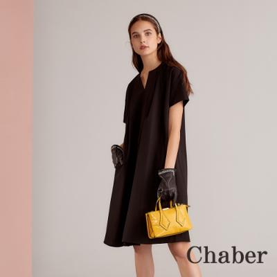 Chaber巧帛 簡約無印風摺飾挺版造型洋裝-墨黑