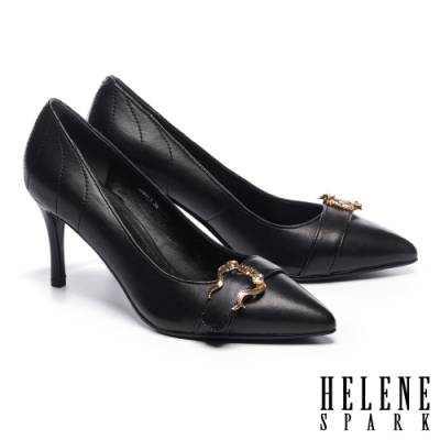 高跟鞋 HELENE SPARK 都市時尚造型飾釦羊皮尖頭高跟鞋-黑