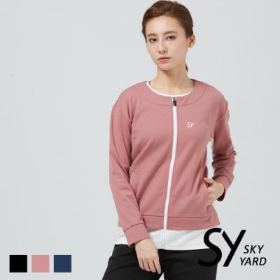 【SKY YARD 天空花園】假兩件拼色休閒外套-粉色