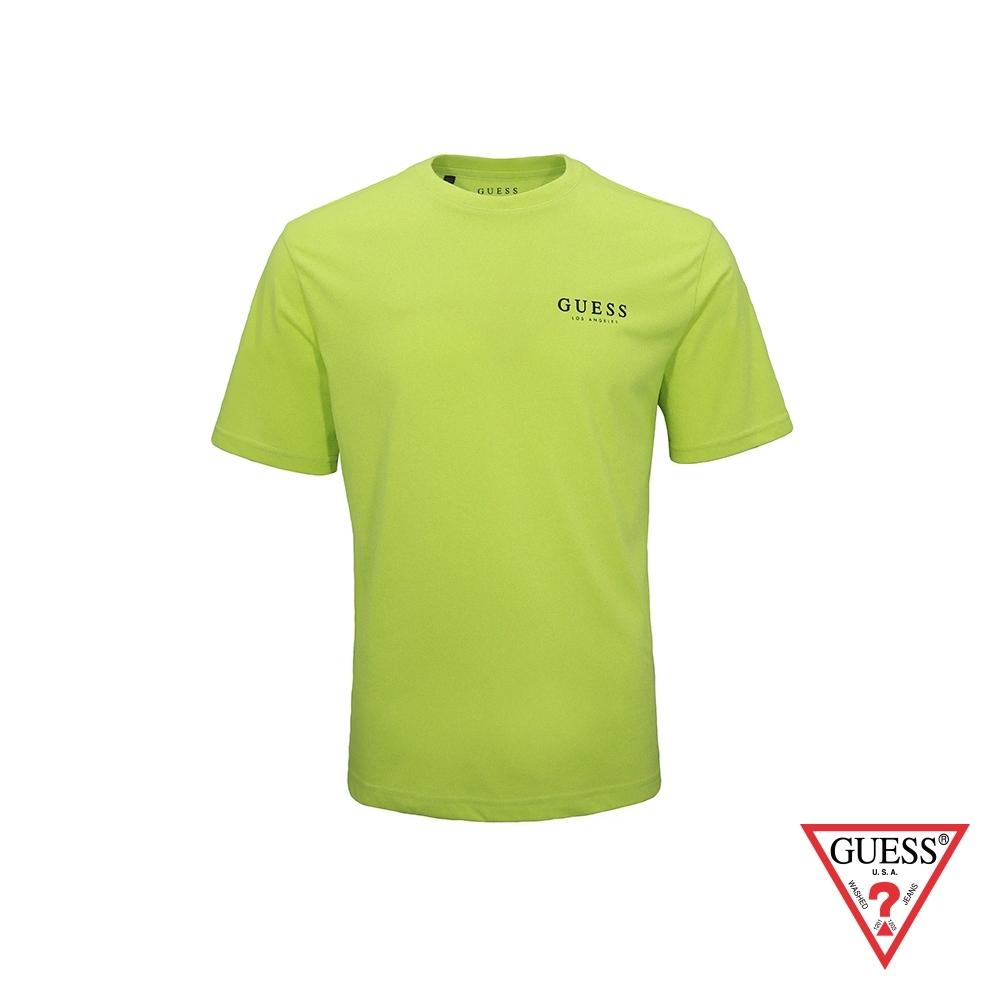 GUESS-男裝-經典素面LA印字短T,T恤-黃綠 原價1290
