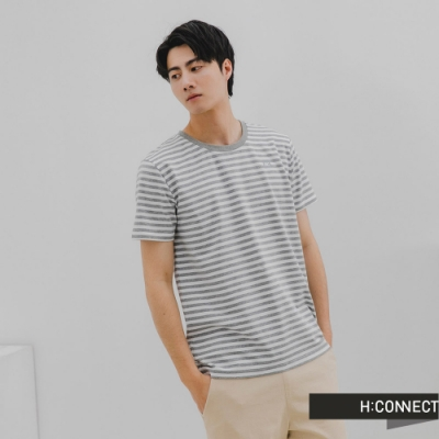 H:CONNECT 韓國品牌 男裝-簡約純色條紋T-Shirt-淺花灰色
