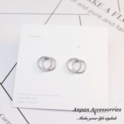 【ANPAN愛扮】韓南大門閃鑽雙圈925耳釘式耳環