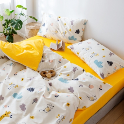 La Lune MIT精梳棉200織紗加大床包新式兩用被五件組 吉祥鼠來拜年
