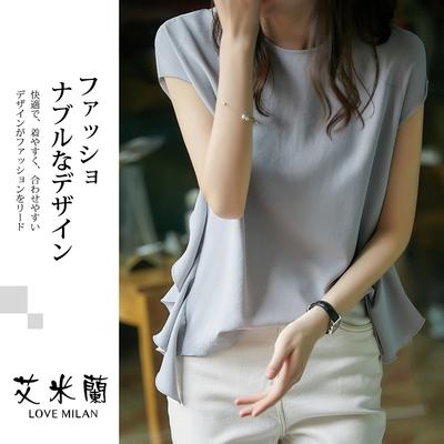 艾米蘭-韓版輕熟款圓領荷葉邊素色造型上衣-灰藍(M-XL)
