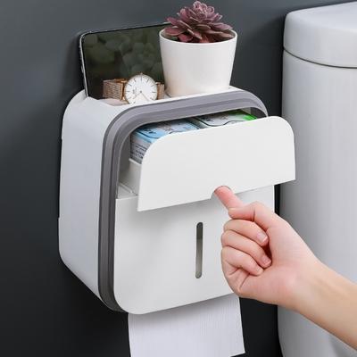 [限時出清特價] 新款簡約設計抽取式雙層紙巾衛生紙盒 免打孔透明視窗通用型【隨機色出貨】