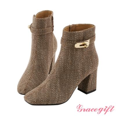 Grace gift X Wei-聯名方頭鎖釦高跟短靴 咖