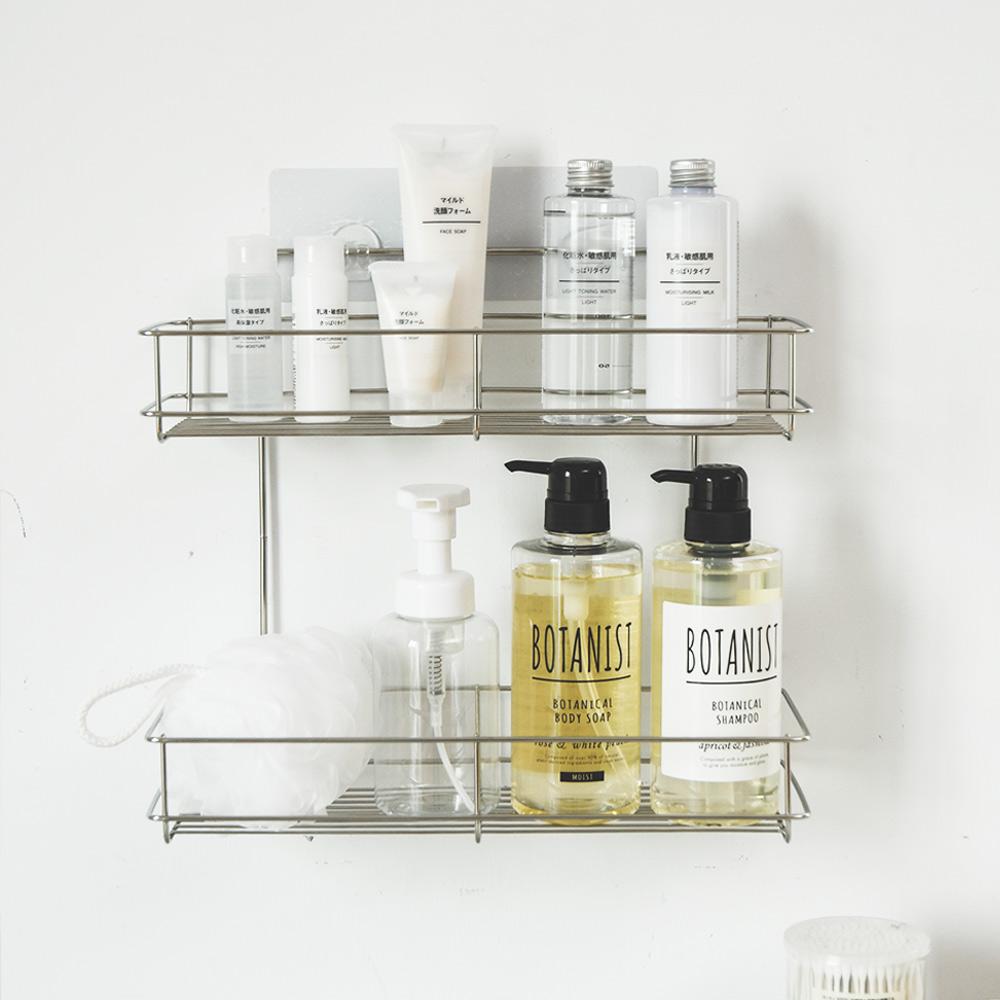 完美主義 瓶罐架/置物架/二層/304不鏽鋼/霧面無痕貼
