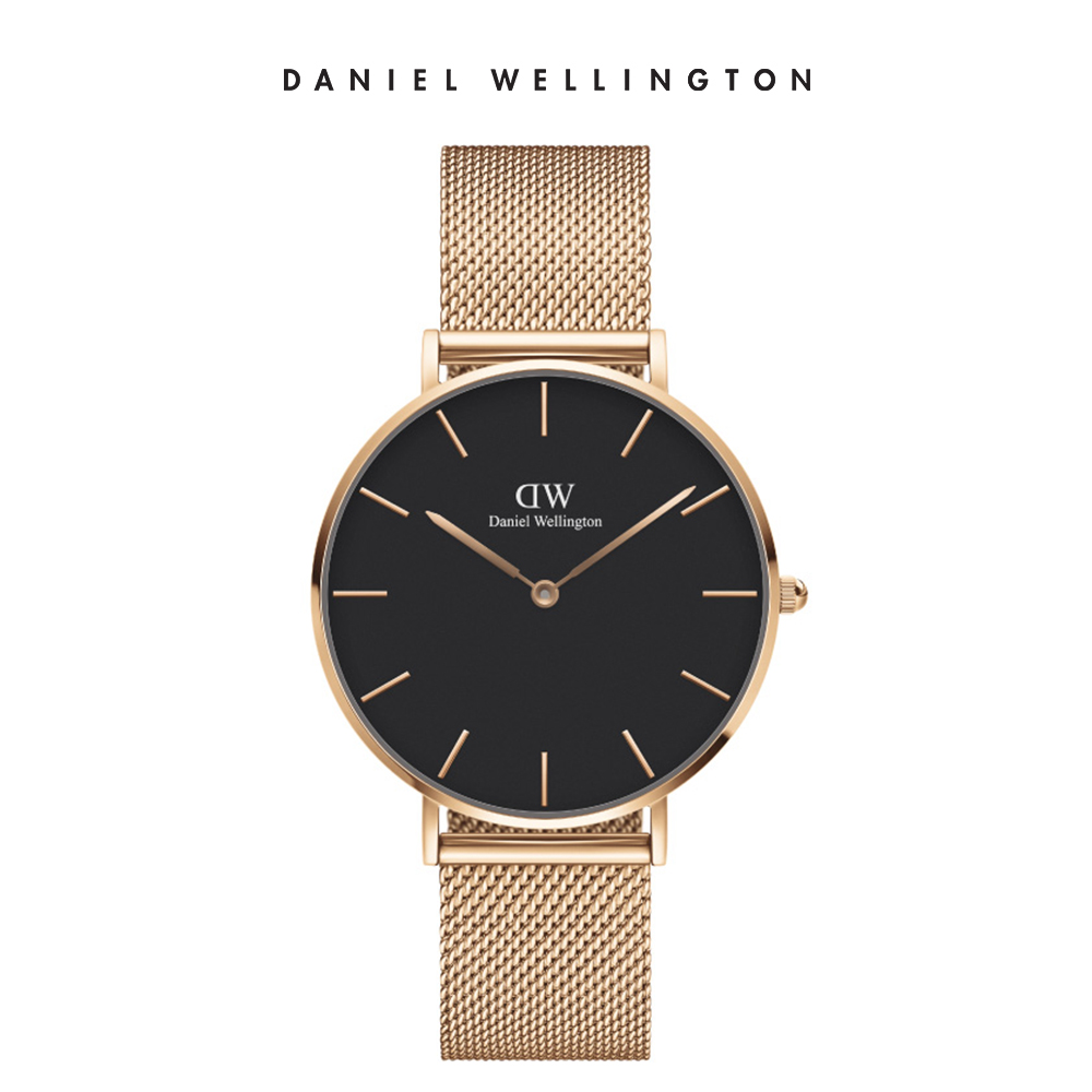 DW 手錶 36mm玫瑰金框 Petite 香檳金x黑錶面 米蘭金屬錶