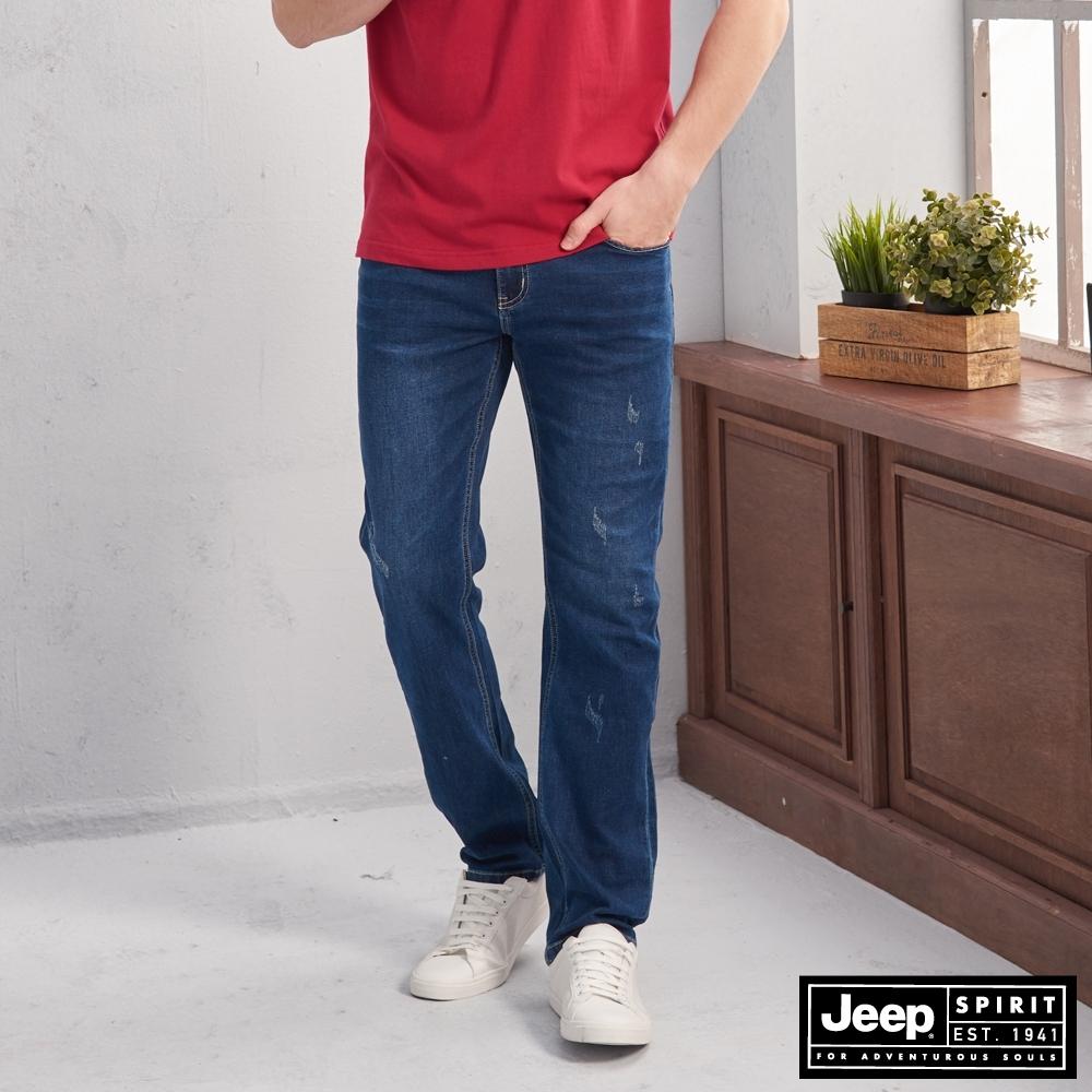 JEEP 經典微刷破刷色直筒牛仔褲 -藍色