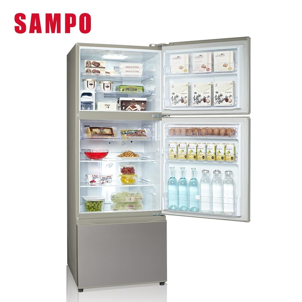 SAMPO聲寶 475L三門變頻冰箱SR-C48DV(Y1) 彩紋金