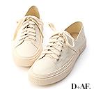 D+AF 街頭休閒.帆布綁帶後踩式休閒鞋*米白