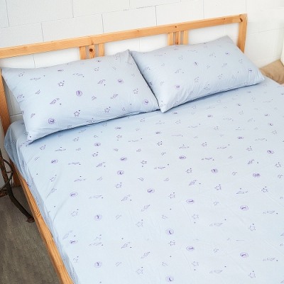 奶油獅-星空飛行-台灣製造-美國抗菌100%純棉床包二件組(灰)-單人加大3.5尺