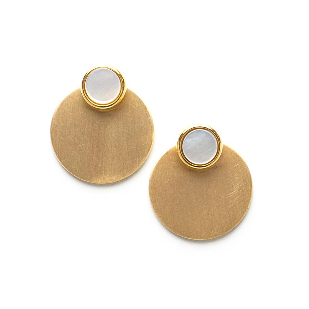 LOVERS TEMPO加拿大品牌 DISC-O白色珍珠貝 啞光圓牌金色耳環