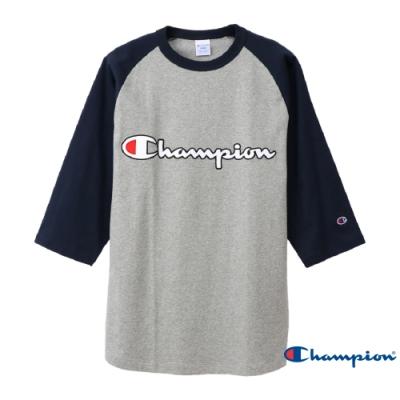 Champion AS棒球七分袖Tee 灰x藍
