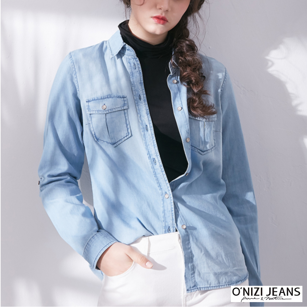 onizi-經典牛仔襯衫-女-淺藍