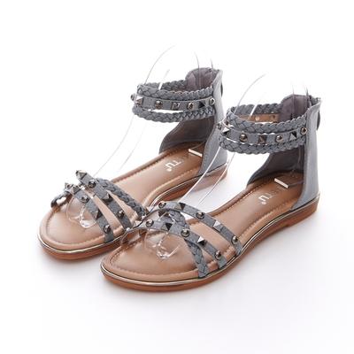 JMS-民族風編織鉚釘細帶交叉環裸羅馬涼鞋-灰色