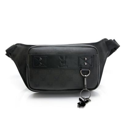 PLAYBOY- 腰包可做單肩包 紳士棋盤兔系列-經典黑