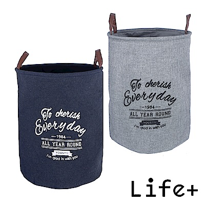 [團購2入] Life Plus 北歐風棉麻圓筒收納籃/置物籃/洗衣籃