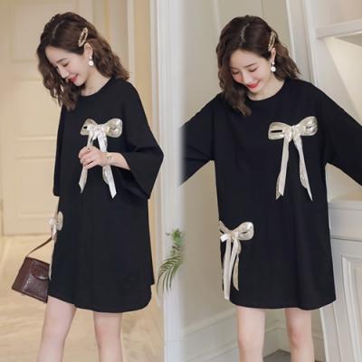 【韓國K.W.】(預購)  流行穿搭春意闌珊金色綁帶洋裝