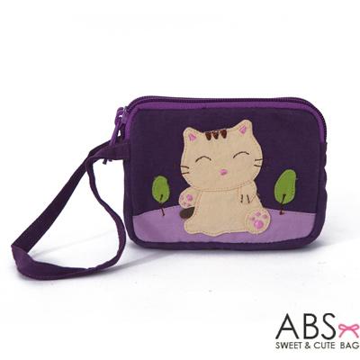 ABS貝斯貓 可愛貓咪拼布雙層拉鍊零錢包(葡萄紫)88-153