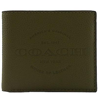 COACH 烙印大LOGO牛皮八卡短夾(墨綠)
