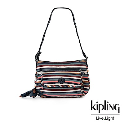 Kipling繽紛仲夏條紋掀蓋側背包