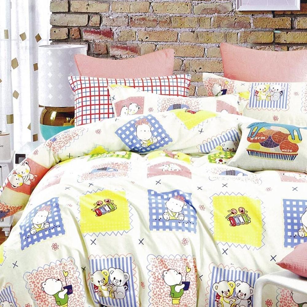 La Lune 百分百精梳棉40支纱舖棉兩用被雙人床包組-DL-寶貝熊
