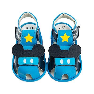迪士尼 米奇 星星造型 寶寶嗶嗶涼鞋-藍