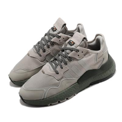 adidas 休閒鞋 Nite Jogger 復古 低筒 男鞋 海外限定 愛迪達 三葉草 反光 麂皮 綠 灰 EE5871