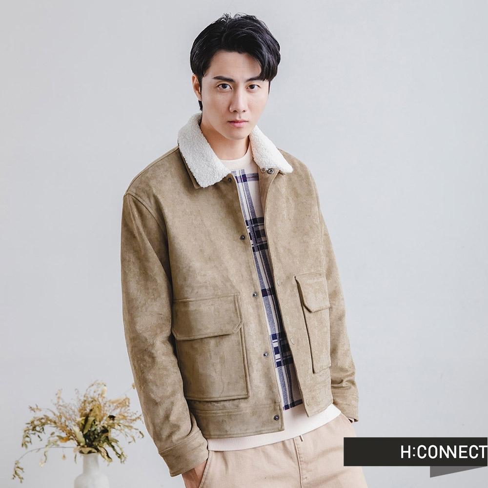 H:CONNECT 韓國品牌 男裝-麂皮拼接羊羔毛外套-橄欖色