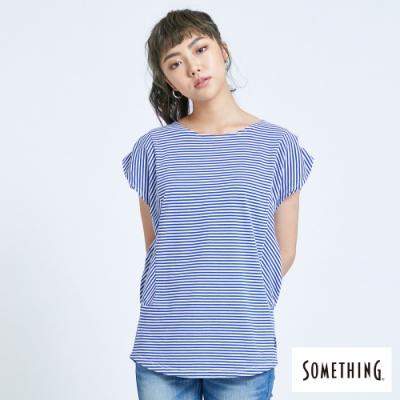SOMETHING 百搭細條 短袖T恤-女-藍色