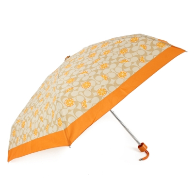 COACH 經典滿版CLOGO甜橙圖案折疊晴雨傘-橙黃色