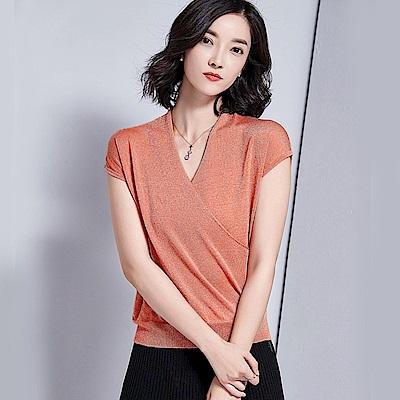 綻放 V領亮絲短袖針織衫-共5色(M-XL可選)