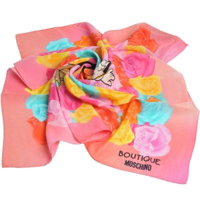 BOUTIQUE MOSCHINO 義大利製奧莉薇玫瑰花朵圖騰字母LOGO絲巾(粉紅底)