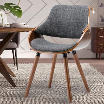 E-home Ingrid英格莉布面曲木餐椅 灰色