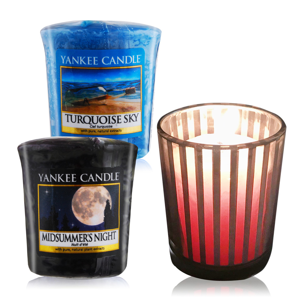 YANKEE CANDLE 香氛蠟燭-仲夏之夜+土耳其天空49gX2+祈禱燭杯