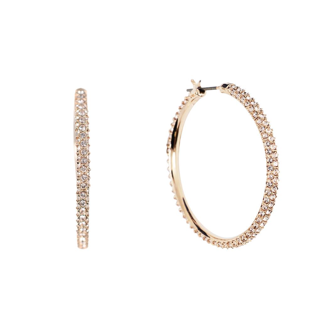 SWAROVSKI 施華洛世奇 Stone雙圓環鑲嵌水晶玫瑰金耳環