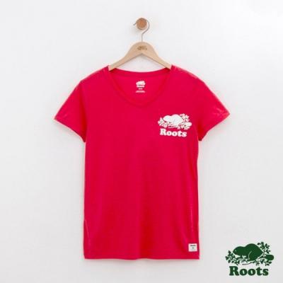 女裝Roots 左胸海狸V領短袖T恤-紅色