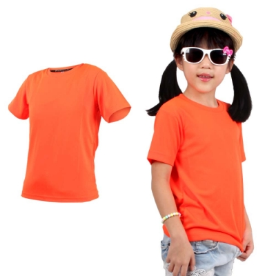 HODARLA FLARE 100 男女童裝吸濕排汗衫-T恤 短T 透氣 慢跑 路跑 3135906 螢光橘