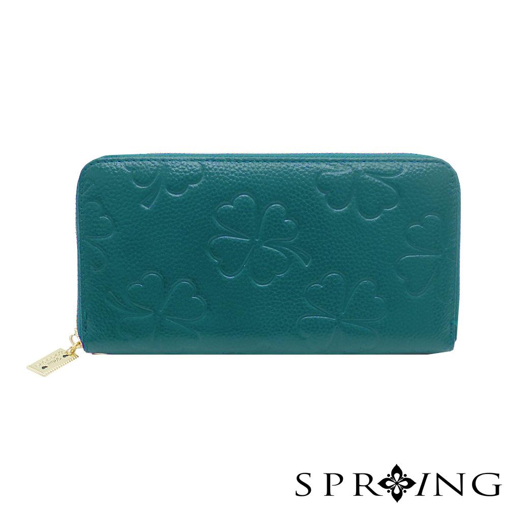 SPRING-MINI聯名-幸運草真皮長夾-神秘藍綠
