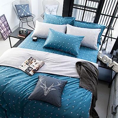 OLIVIA  阿波羅 藍 雙人全鋪棉床包冬夏兩用被套四件組 歐式枕套 200織精梳純棉