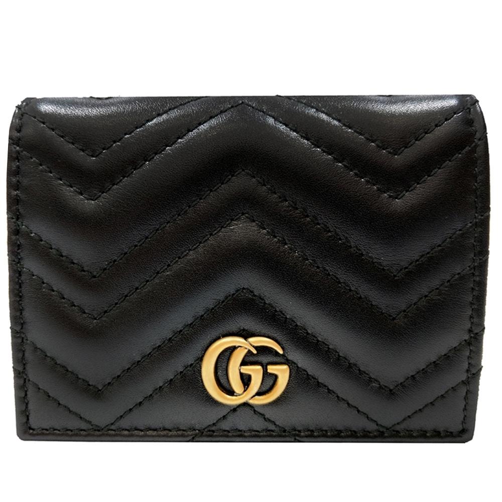 GUCCI GG Marmont系列絎縫紋牛皮金屬雙G LOGO暗釦卡夾/零錢短夾(黑色) 專櫃熱門款式