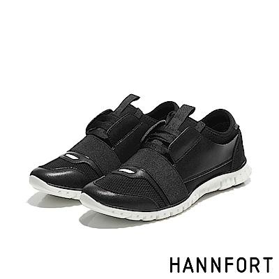 HANNFORT ZERO GRAVITY異材質拼接氣墊運動鞋-女-深岩黑