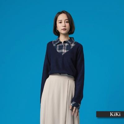 【KiKi】學院風假兩件式-針織衫(藍色)