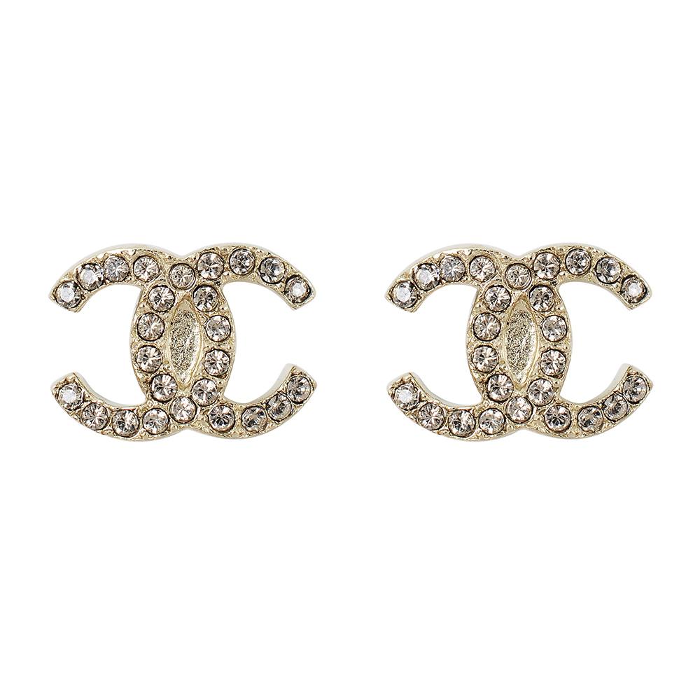 CHANEL香奈兒 經典雙C LOGO 鑲嵌圓形排列水鑽金色耳環
