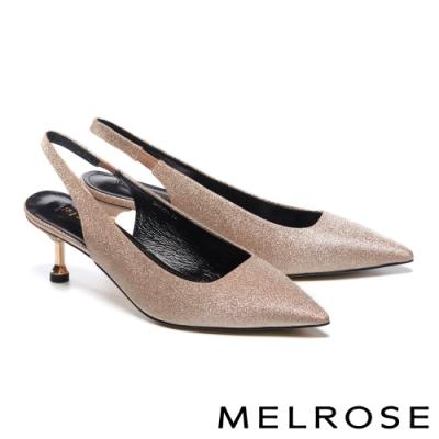 高跟鞋 MELROSE 時尚亮眼金蔥布後繫帶尖頭高跟鞋-粉