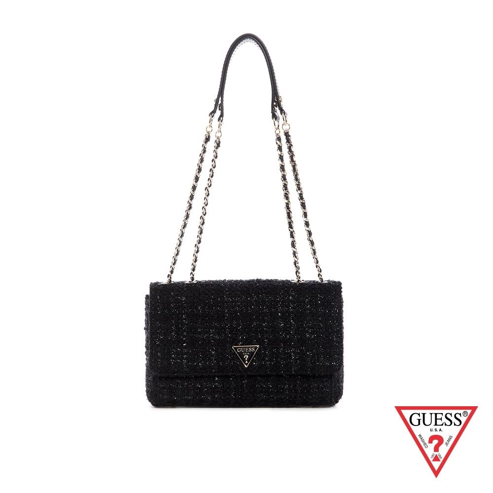 GUESS-女包-時尚毛呢編織鍊條手提包-黑 原價3090