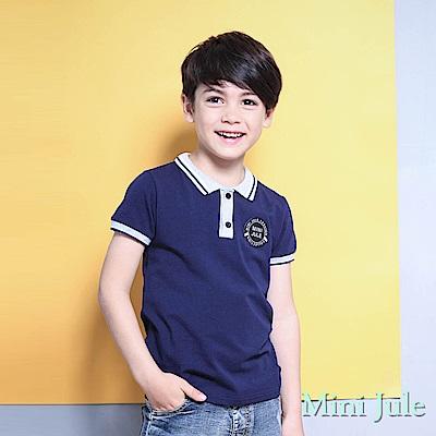 Mini Jule 上衣 布標螺紋襯衫領短袖上衣(深藍 )