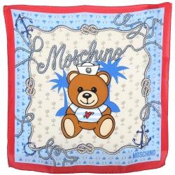 MOSCHINO 水手泰迪熊紅藍方框絲質方巾